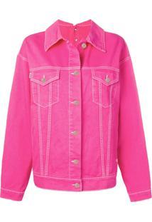 Msgm Jaqueta Jeans Oversized - Rosa