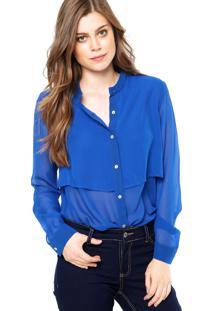 Camisa Manga Longa Ellus Seda Azul