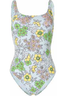 Tory Burch Wallpaper Floral-Print Swimsuit - Azul