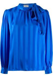 Saint Laurent Jacquard Striped Blouse - Azul