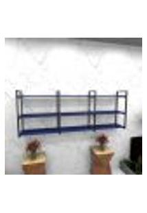 Estante Estilo Industrial Sala Aço Cor Preto 180X30X68Cm (C)X(L)X(A) Cor Mdf Azul Modelo Ind35Azsl