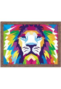 Quadro Decorativo Animal Leão Abstrato Colorido Moderno Madeira - Grande