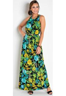Vestido Longo Sem Mangas Floral Com Recortes