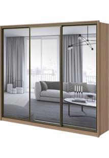 Guarda-Roupa Spazio Super Glass Com Espelho - 3 Portas - 100% Mdf - Carvalho Naturale
