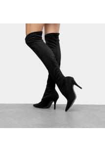 Bota Meia Over The Knee Vizzano Salto Fino Feminina - Feminino-Preto