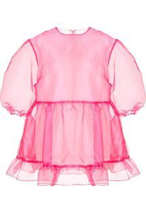 Sandy Liang Vestido Translúcido Bader - Rosa