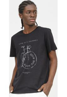 "Camiseta ""Life Is A Journey ""- Preta- Sommersommer"
