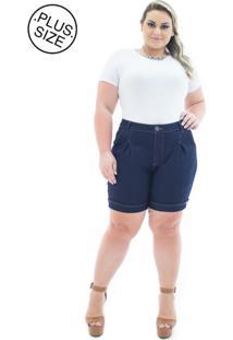 Short Jeans Plus Size - Confidencial Extra Acetinado Com Pregas