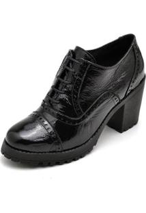 Oxford Top Franca Shoes Verniz Feminino - Feminino-Preto