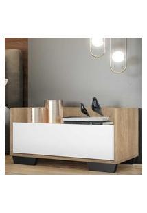 Mesa De Cabeceira 80 Cm C/ Pés Quadrados Multimóveis Rustic/Branco/Preto