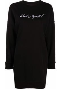 Karl Lagerfeld Vestido De Algodão Com Logo De Assinatura - Preto