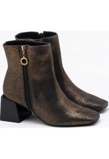 Ankle Boot Metalic Couro Foil Bronze