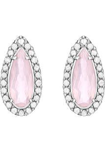 Brinco Em Ouro Branco 18K Com Diamante, Quartzo Rosa - Femme
