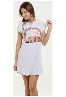 Camisola Feminina Estampa Flamingo Manga Curta Marisa