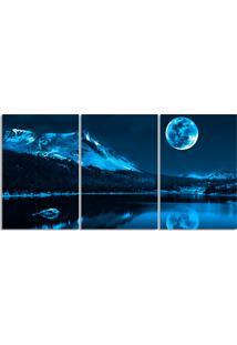 Quadro Decorativo Noite Lua Cheia Luar Sala Quarto Casa - Azul Marinho - Dafiti