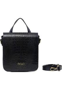 Bolsa Transversal Em Couro Recuo Fashion Bag Azul Marinho