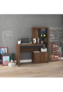 Escrivaninha 2 Portas 1 Gaveta 2 Prateleiras Tecno Mobili Nogal/Preto