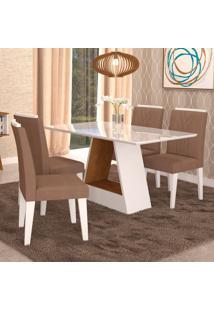 Conjunto De Mesa De Jantar Retangular Alana Com 4 Cadeiras Nicole Suede Pluma E Savana