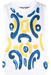 Moschino Blusa De Tricô Com Estampa Majolica - Branco