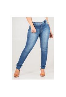 Calça Jeans Feminina Básica Cós Médio Skinny Com Bolsos