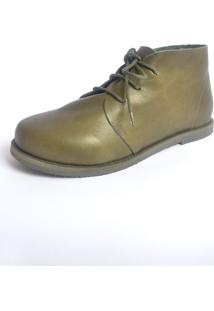 Botinha S2 Shoes Maria Couro Verde Militar - Kanui
