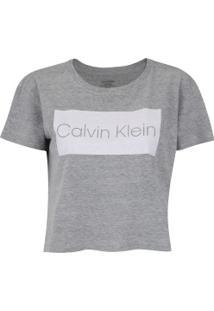 Blusa Cropped Calvin Klein Logo - Feminina - Cinza