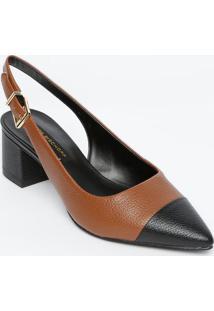 Sapato Chanel Com Recorte Sobreposto - Marrom Escuro & Pjorge Bischoff