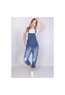 Macacão Jeans Rasgos Azul Médio Gang Feminino