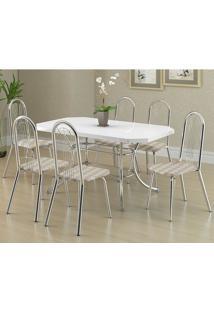 Mesa 1507 Branca Cromada Com 6 Cadeiras 182 Retrô Metalizado Carraro