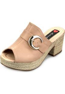 d77b868334 ... Tamanco Love Shoes Salto Bloco Meia Pata Plataforma Mule Fivela Nude