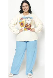 Pijama Manga Longa & Calã§A- Creme & Azul Clarosonhart