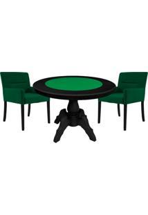 Mesa De Jogos Carteado Redonda Montreal Tampo Reversível Preto Com 2 Cadeiras Vicenza Verde - Gran Belo