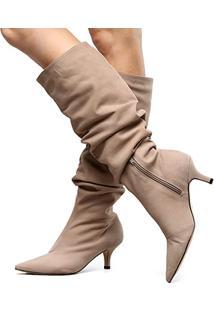 Bota Couro Slouch Shoestock Salto Baixo Feminina - Feminino-Cinza