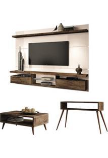 Painel Tv Livin 2.2 Com Mesa De Centro Lucy E Aparador Quad Deck/Off W