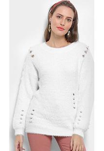 Suéter Tricot Facinelli Pelo Pérola Feminino - Feminino-Branco