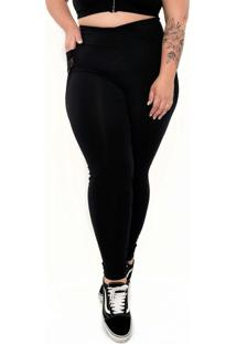 Calça Legging Supplex® Plus Size Com Bolsospreto