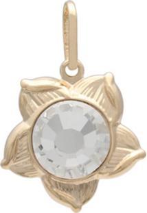 Pingente Prata Mil Flor Com Pedra Chaton Cristal - Dourado - Feminino - Dafiti