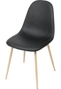 Cadeira Robin Assento Pu Preto Com Base Metal Cor Madeira - 46508 Sun House