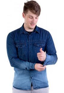 Camisa Jeans Laser Azul Escuro Degradê