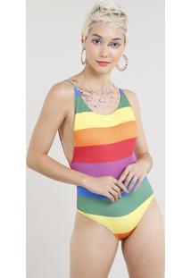 Maiô Body Feminino Arco Íris Com Proteção Uv50+ Multicor