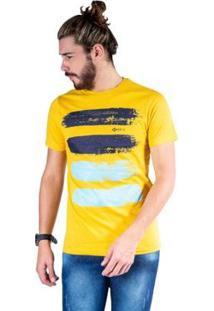 Camiseta Mister Fish Estampado Arte Com Tinta Masculina - Masculino-Mostarda