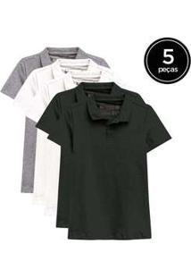 Kit De 5 Camisas Polo Femininas De Várias Cores Preto