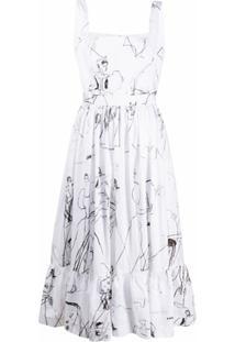 Alexander Mcqueen Vestido Com Estampa Ilustrada - Branco