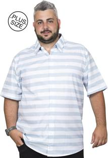Camisa Plus Size Bigshirts Manga Curta Listra Praia