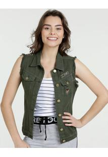 Colete Feminino Jeans Patches Sawary