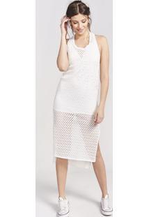 Vestido MãDi Com Vazados & Fenda - Off Whitepop Up