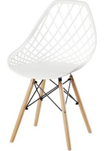 Cadeira Frank Branca Base Madeira - 50068 - Sun House