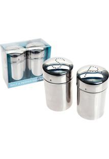 Saleiro E Pimenteiro Shakers Aço Inox 9 Cm Ethos