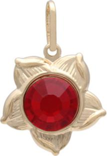 Pingente Prata Mil Flor Com Pedra Chaton Vermelha