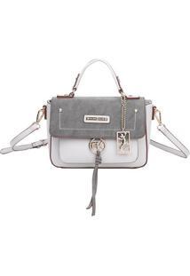Bolsa Transversal Com Bag Charm - Cinza & Cinza Claro